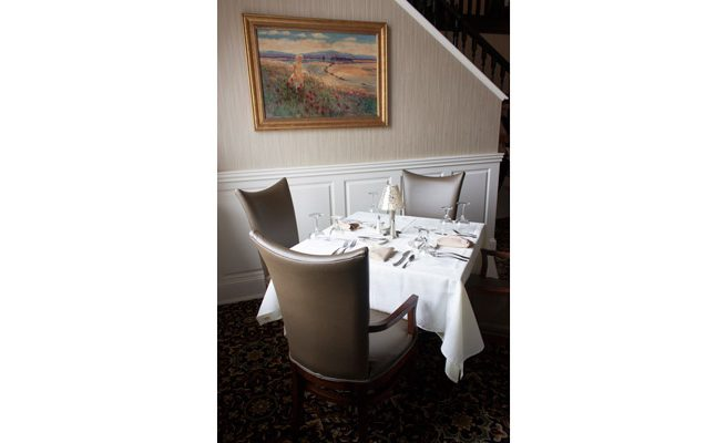 Laury's Restaurant Table and Artwork